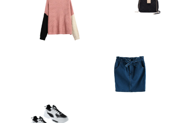 Stylish Everyday Outfit Idea for Winter 2020 Pink Oversized Sweater Dark Blue Skirt and Black Dad Sneakers