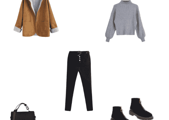 Stylish Office Outfit Winter 2020 for Business Woman Caramel Sheepskin Coat Gray Sweater Black Skinny Pants and Black Low Heel Ankle Boots