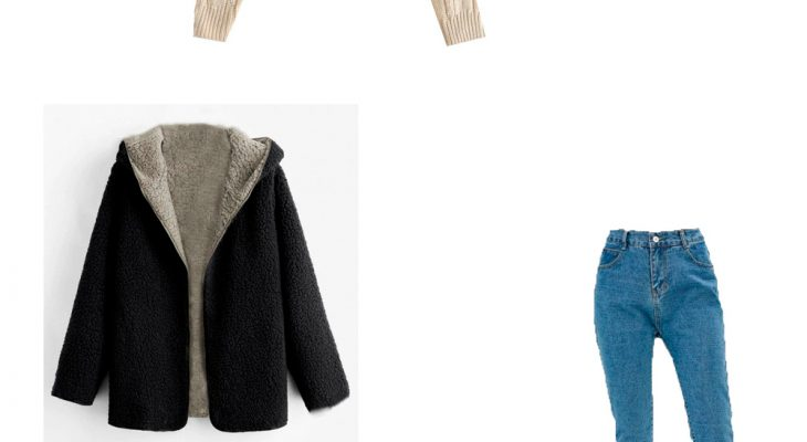 Super Cute Winter 2020 Street Outfit Idea with Gray Teddy Coat Beige Sweater Blue Straight Jeans and Beige Sneakers