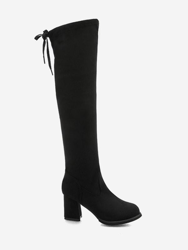 Tie Back Block Heel Thigh High Knight Boots - Black Eu 39