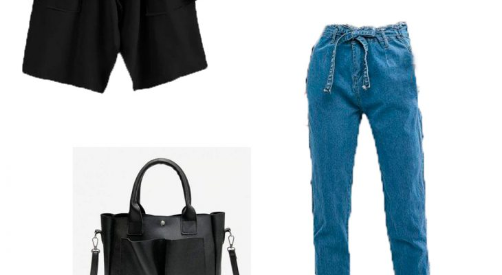 Totally Perfect Winter 2020 Outfit Idea for Women Fashion Black Coat White Basic Sweater Blue Mom Jeans and White Outdoor Sneakers
