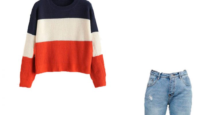 Trendy Winter Outfit for your Street Style 2020 Multi Color Striped Sweater Blue Jeans and White Sneakers