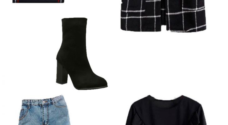 Trendy and Casual Outfit to Wear Everyday for Winter 2020 Black Plaid Longline Coat Black Blouse Blue Mom Jeans and Black High Heel Boots