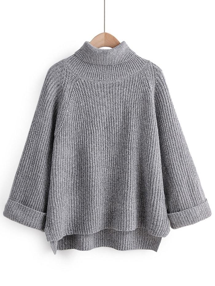 Turtleneck Side Slit High Low Sweater - Gray