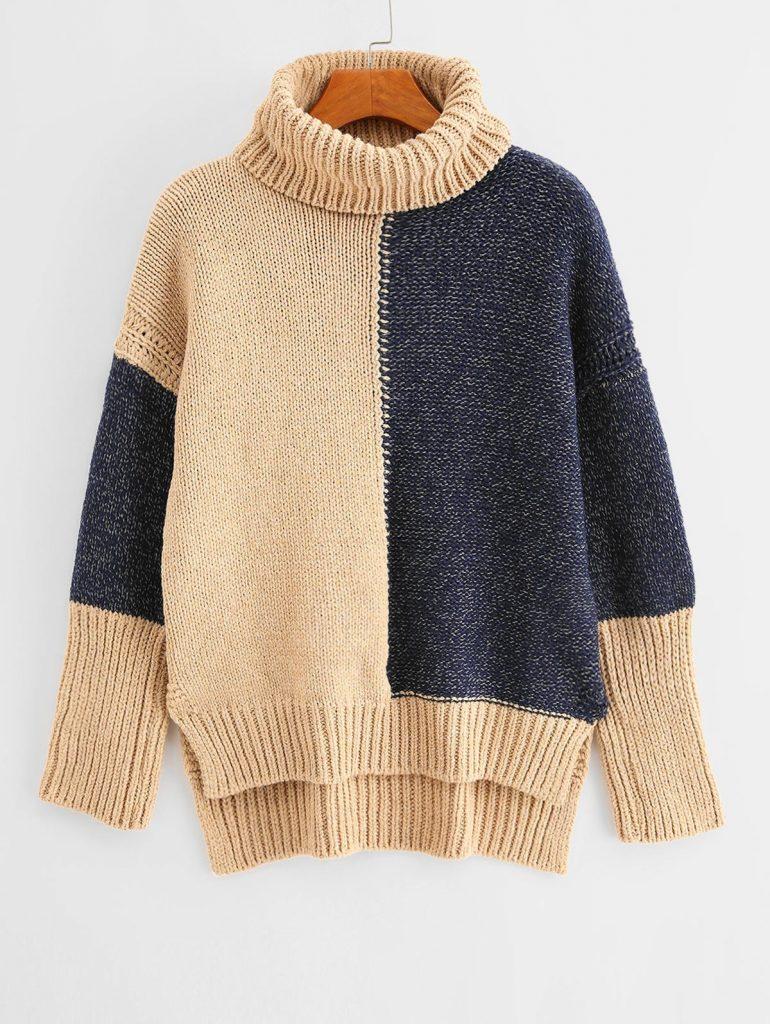 Two Tone Turtleneck High Low Slit Sweater - Multi