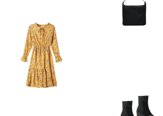 What To Wear On A Casual First Date Trendy Winter Outfit for 2020 with Yellow Flower Print Dress Black Chunky Heel Solid Boots and Black Bag