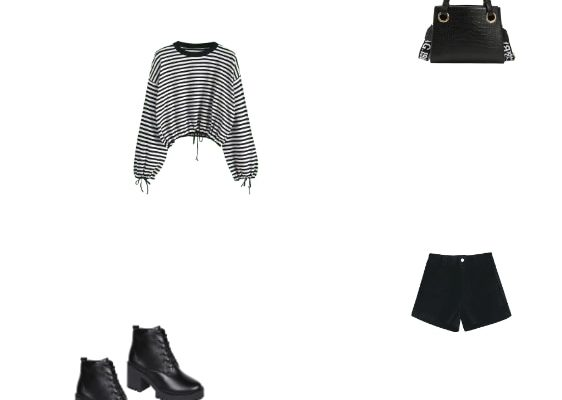 Winter 2020 Casual Black Outfit for Women Black Stripes Sweater Black Shorts and Black Platform Short Boots