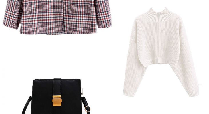 Winter 2020 Fashionable School  College Outfit Idea for Students Red Wine Check Blazer White Sweater and Beige Corduroy Skirt
