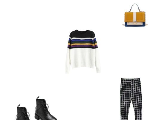 Winter 2020 Outfit for College Multi Striped Sweater Black Plaid Pants and Black Leather Boots