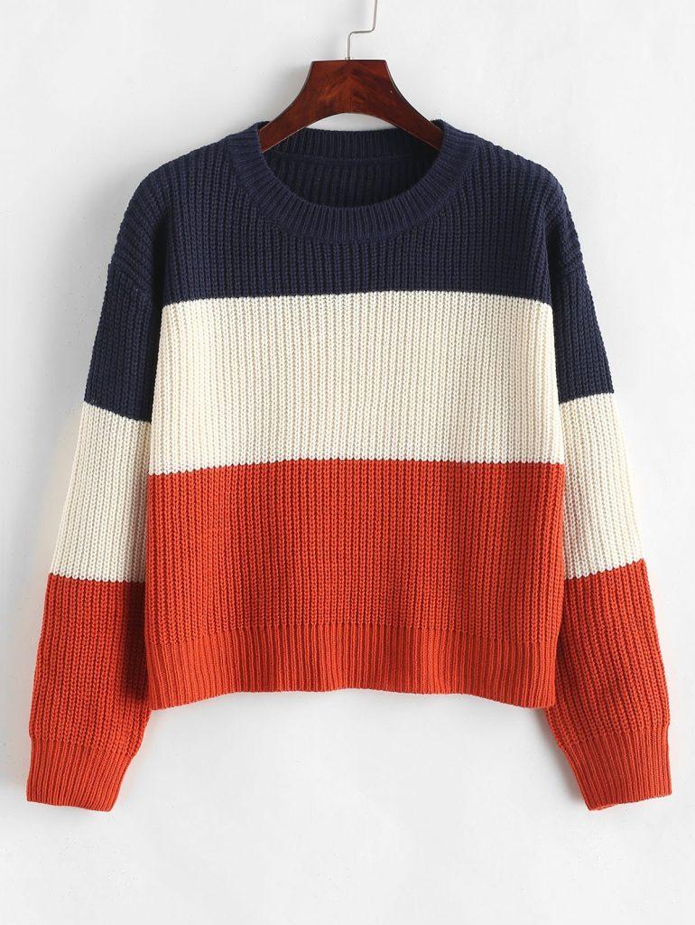 ZAFUL Color Block Striped Sweater - Multi-e