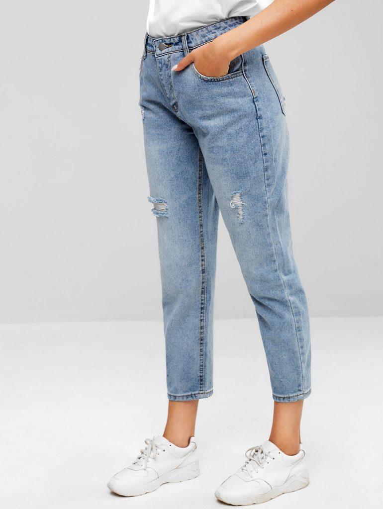 ZAFUL Distressed Five Pockets Jeans - Jeans Blue S