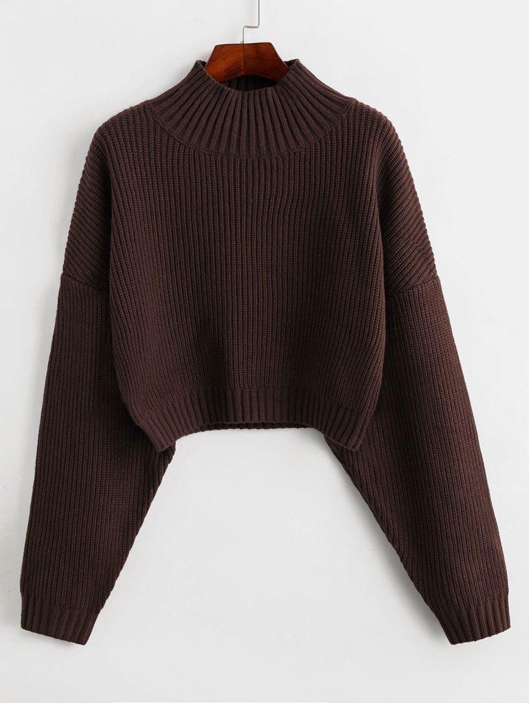 ZAFUL Drop Shoulder Mock Neck Plain Sweater - Deep Brown L