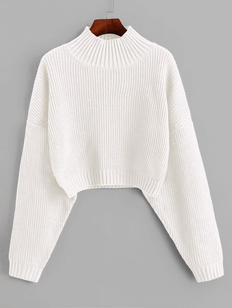 ZAFUL Drop Shoulder Mock Neck Plain Sweater - White S