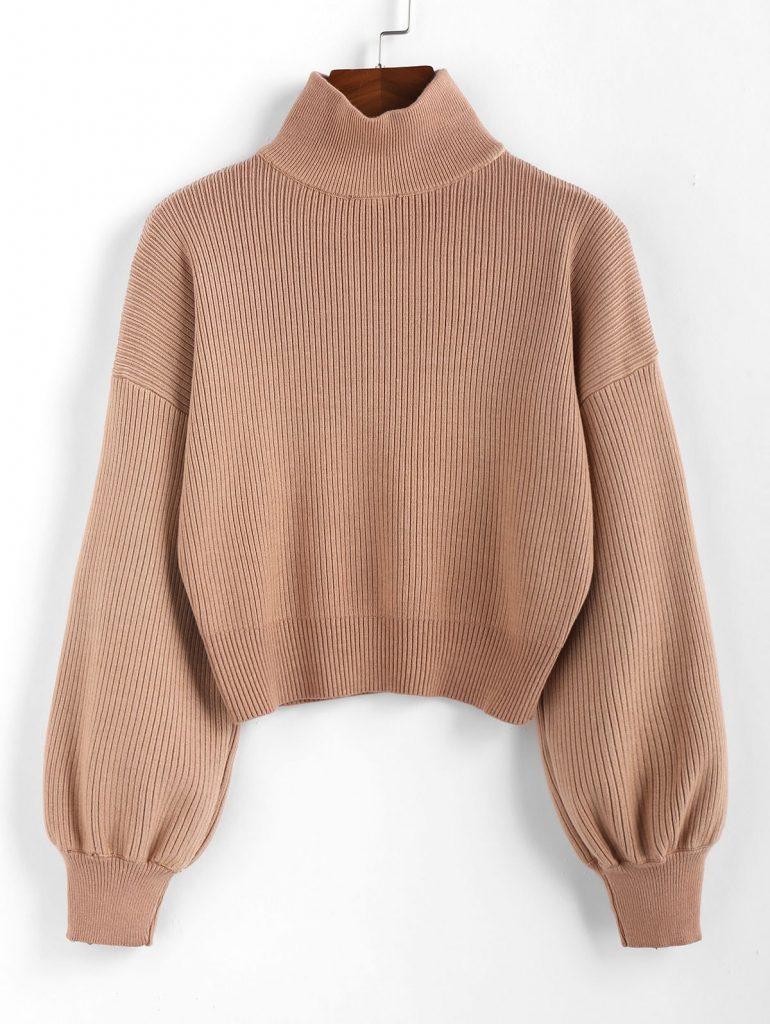 ZAFUL High Neck Drop Shoulder Plain Sweater - Light Brown S