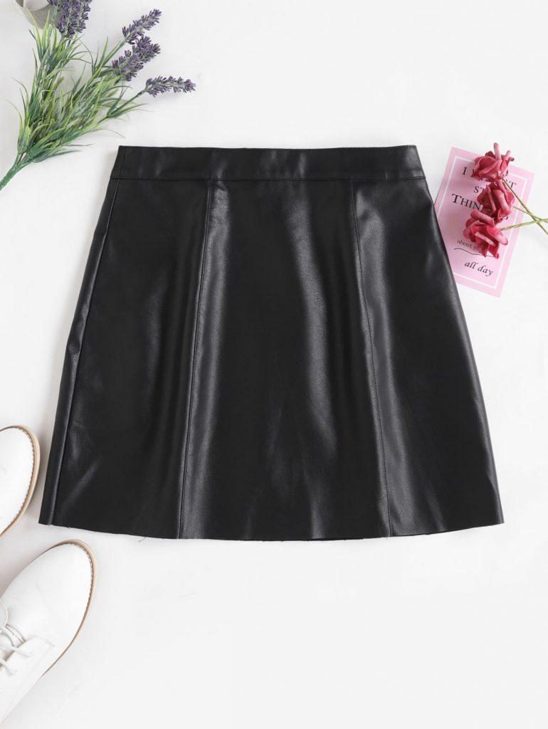 ZAFUL PU Leather Mini Skirt - Black Xl