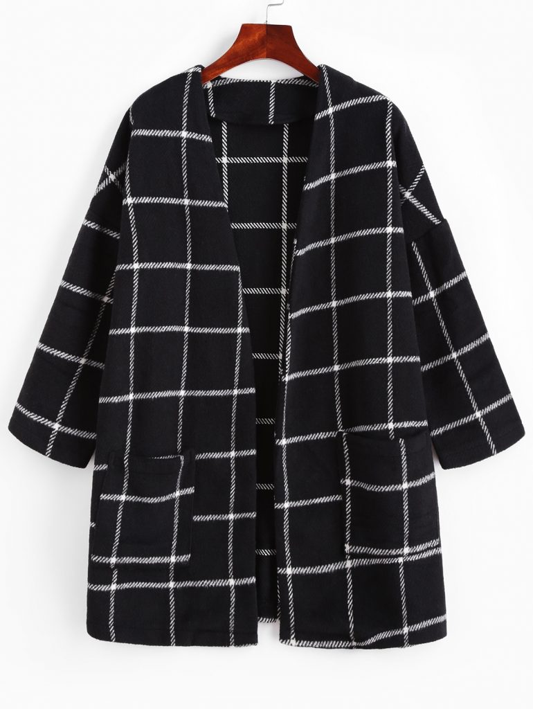 ZAFUL Patched Pockets Open Front Plaid Longline Coat - Black S