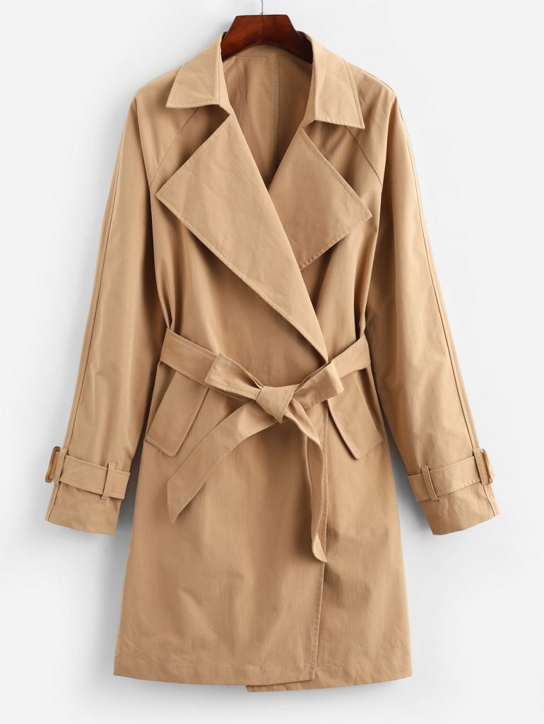 ZAFUL Pockets Solid Belted Trench Coat - Khaki S