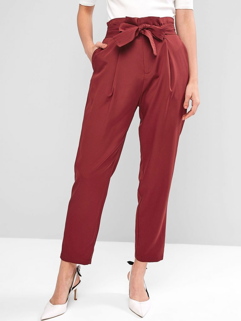Pleated-detail Paperbag Pants - Red Wine S