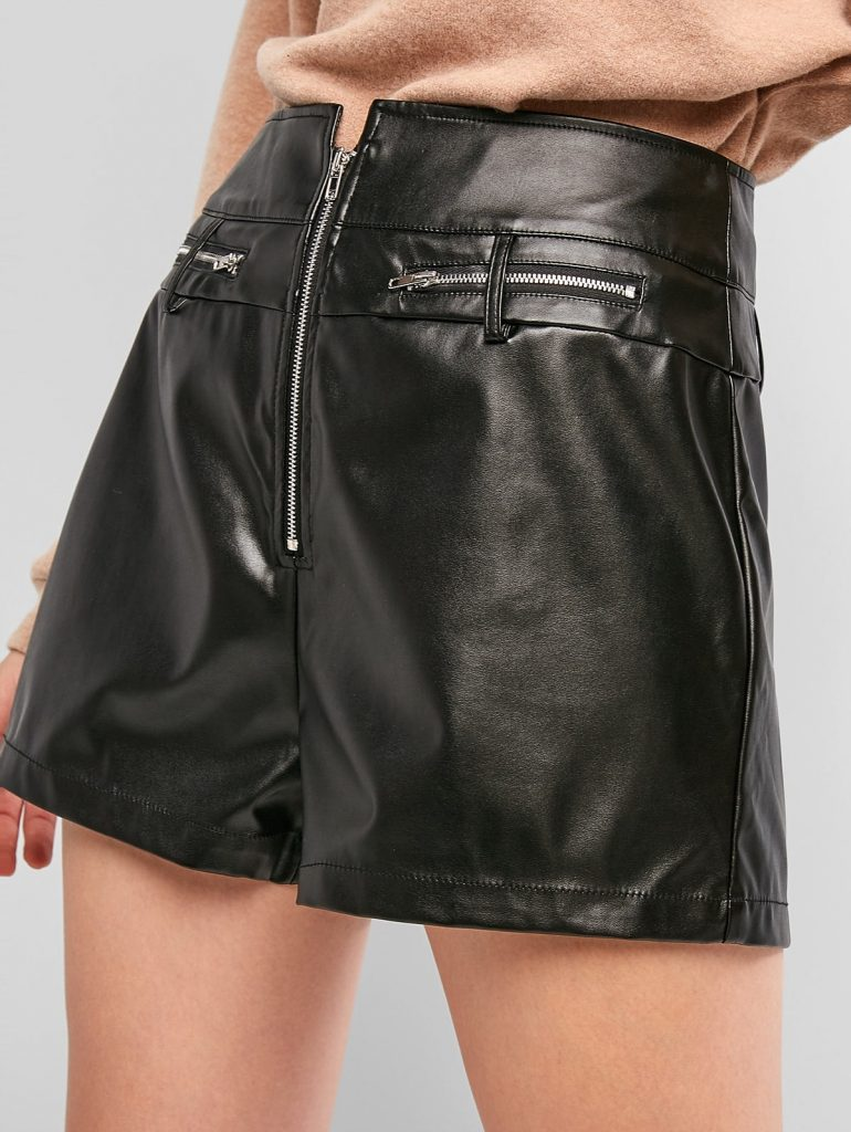 ZAFUL Zip Front Solid Faux Leather Shorts - Black Xl