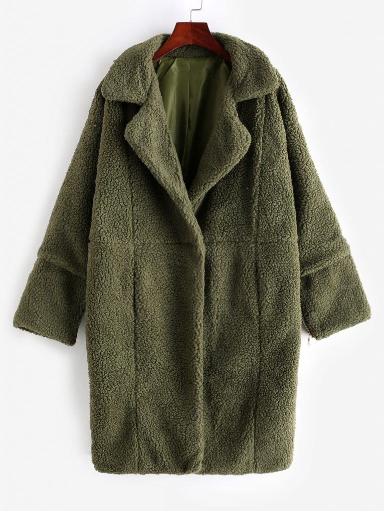 Zip Cuffs Back Slit Longline Teddy Coat - Army Green S