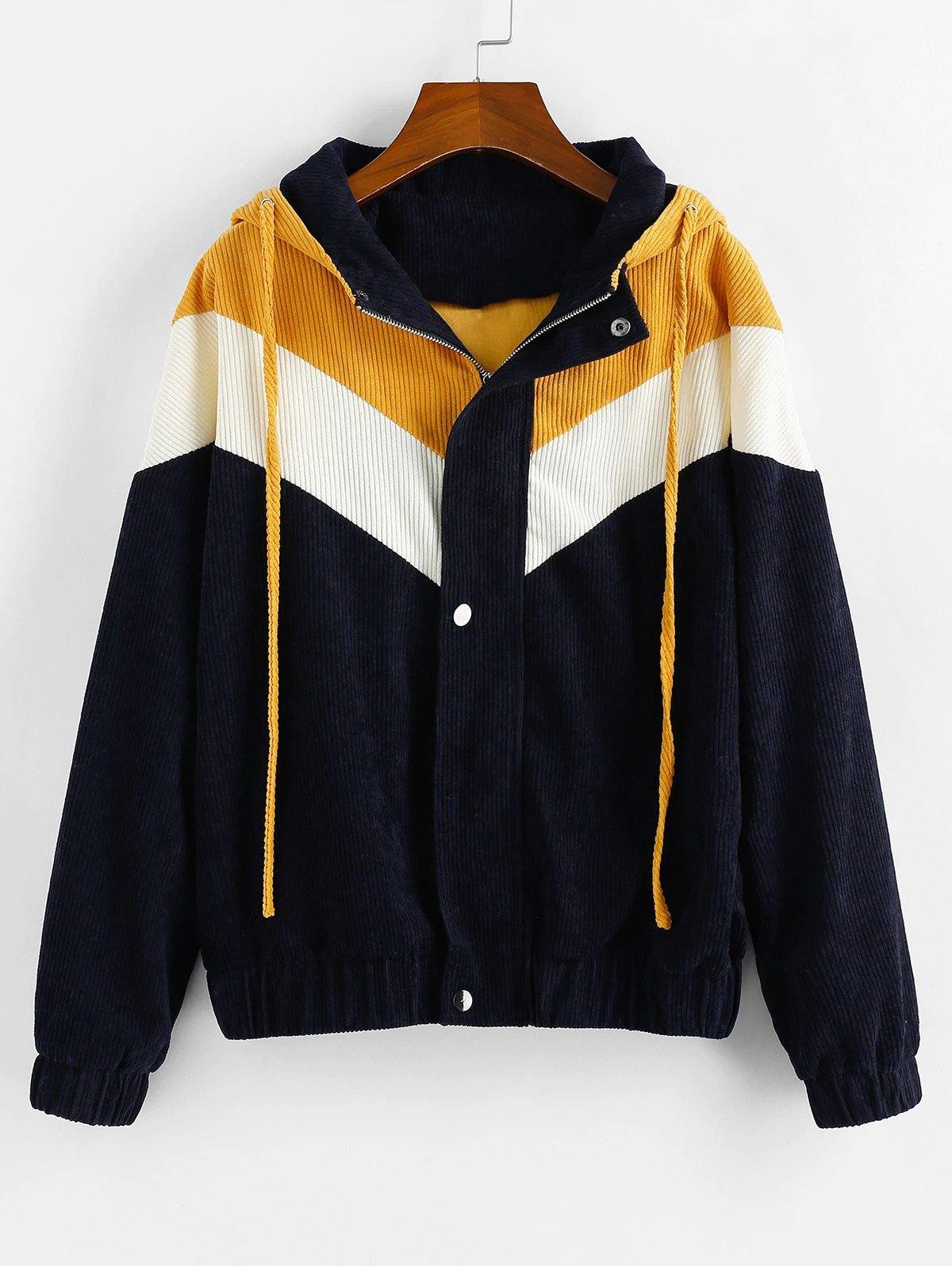 Color-blocking Corduroy Hooded Zipper Coat